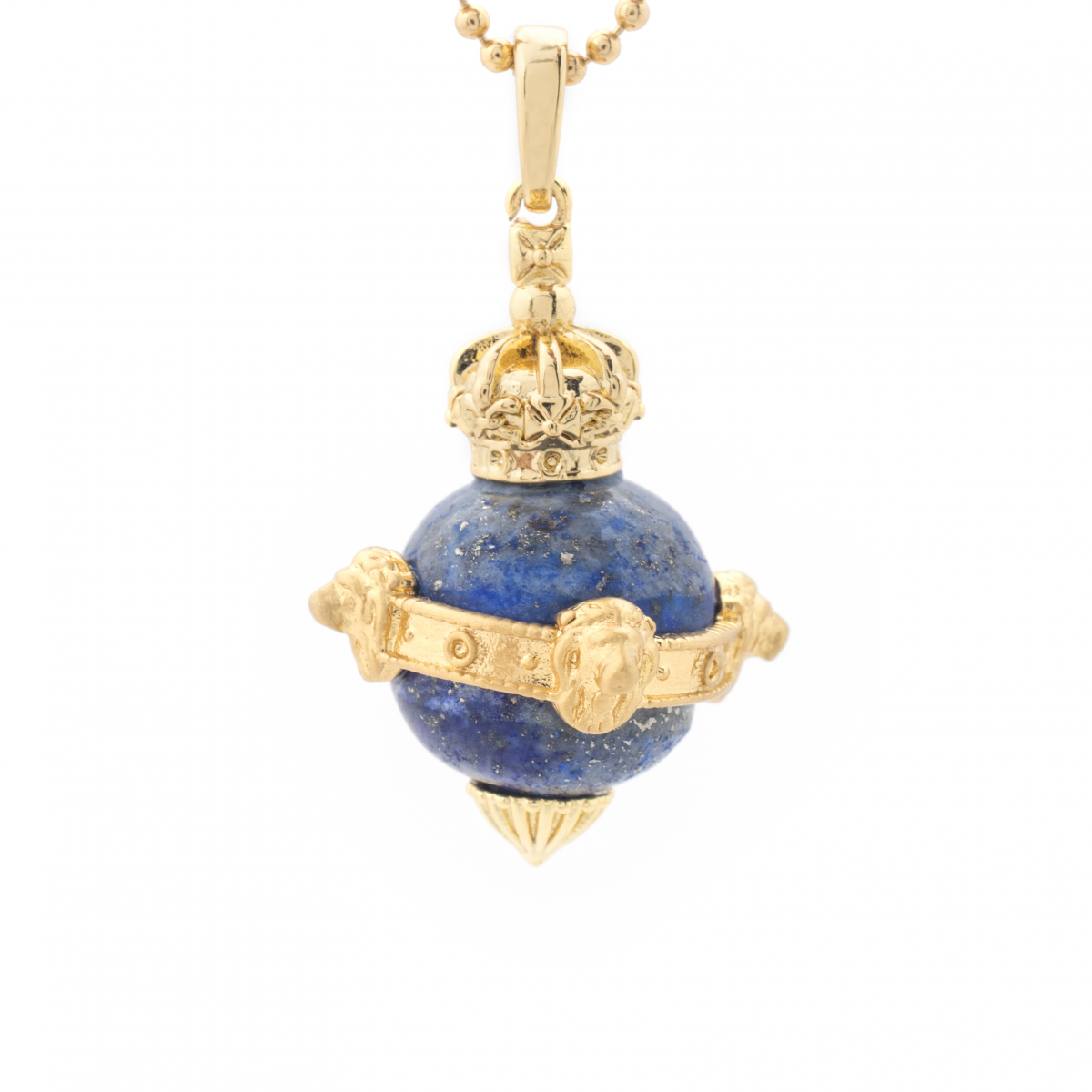 Mini Lion Orb Lapis Pendant