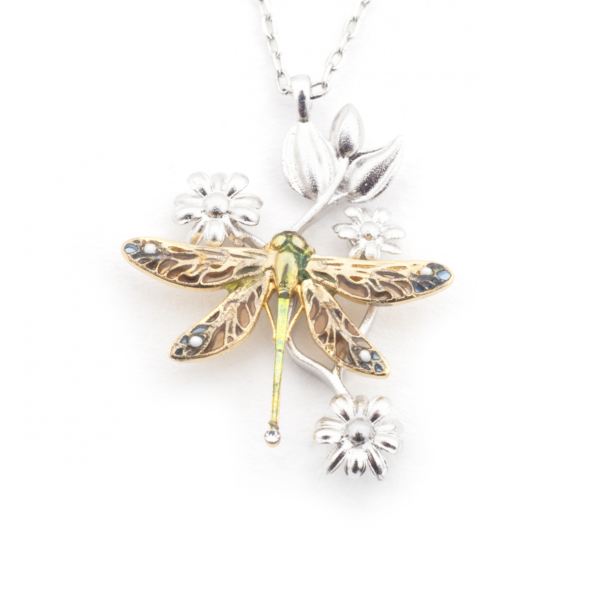 Dragonfly Floral Pendant