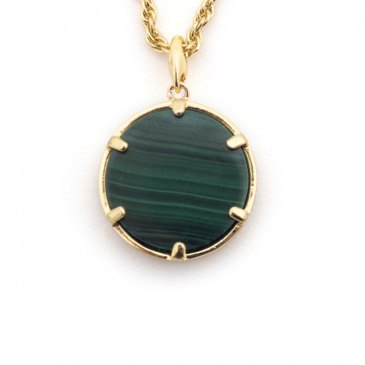 Filigree Disc Pendant - Malachite