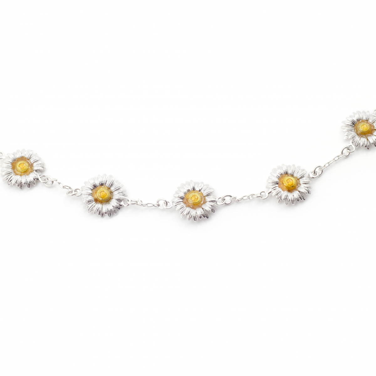 Daisy Chain Necklace - Rhodium