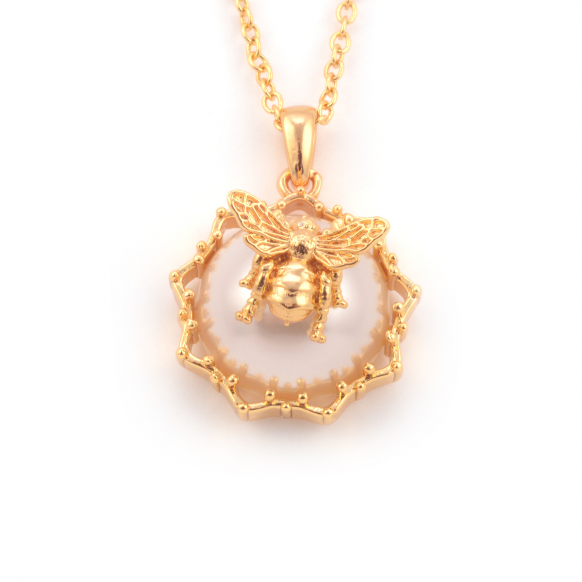 Bee Pearl Filigree Pendant