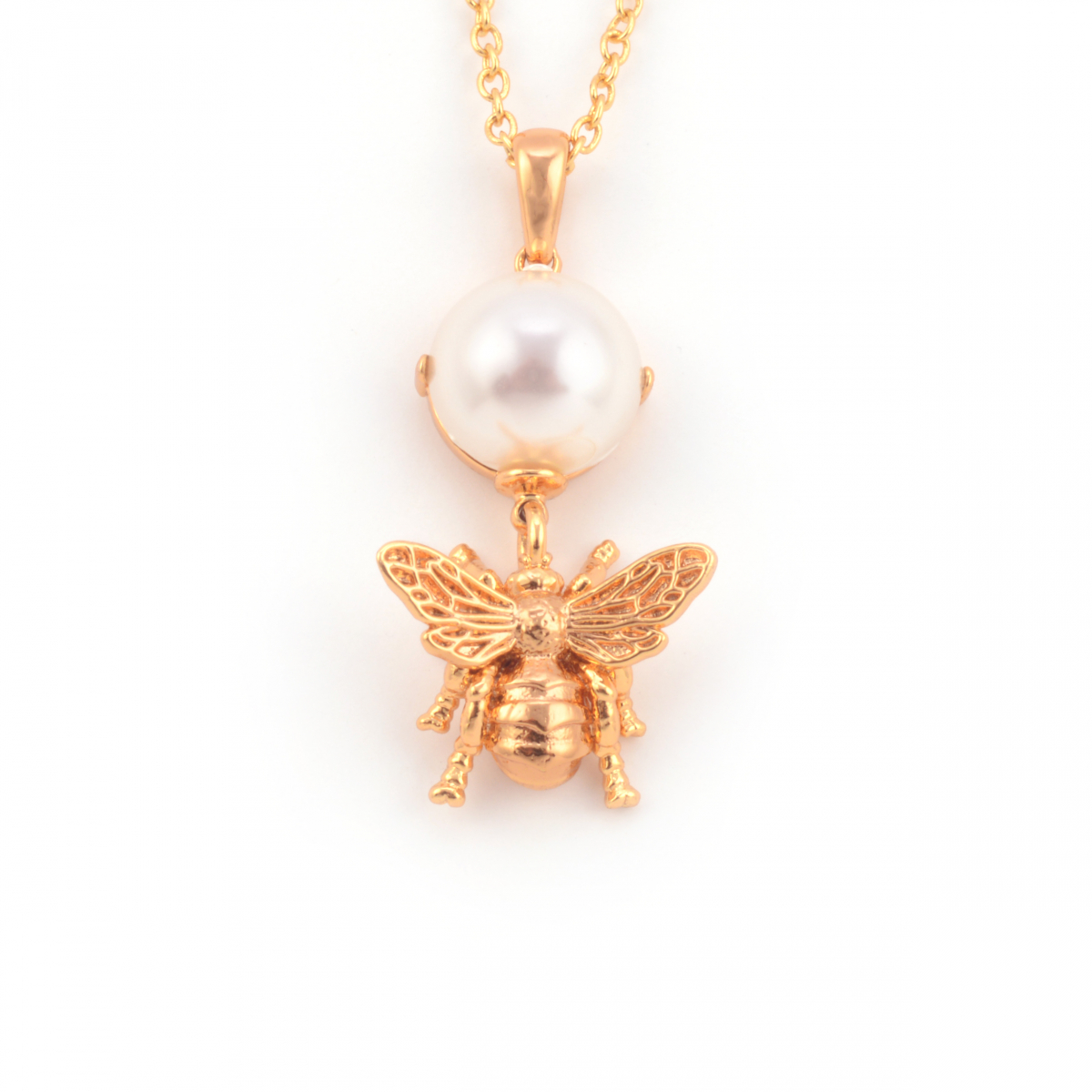 Bee Pearl Drop Pendant