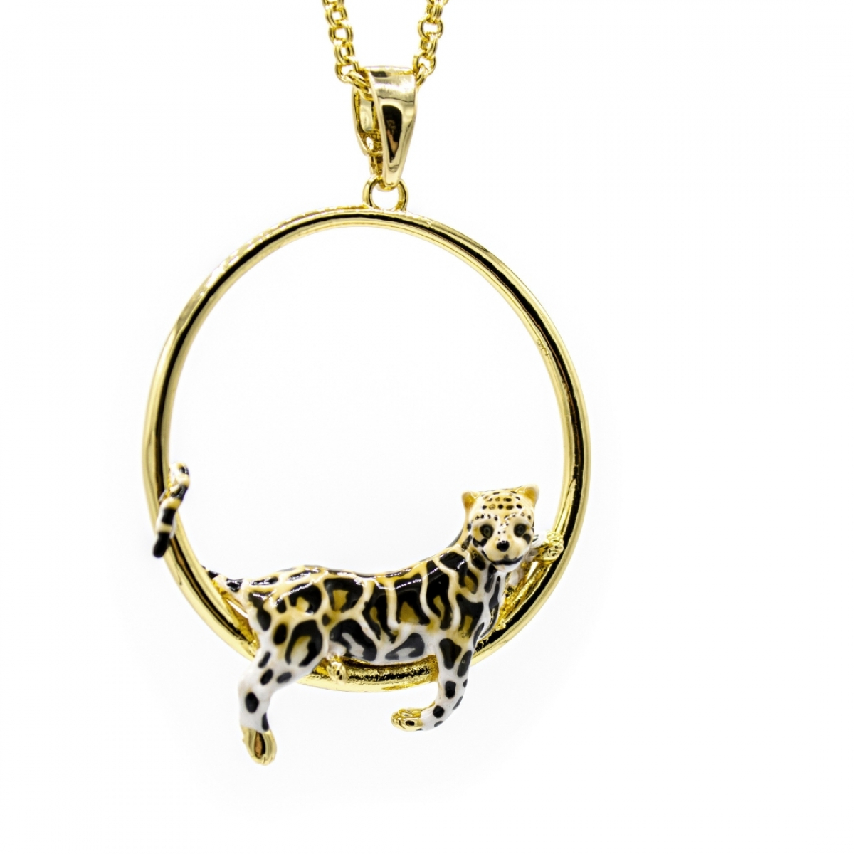Clouded Leopard Hoop Necklace