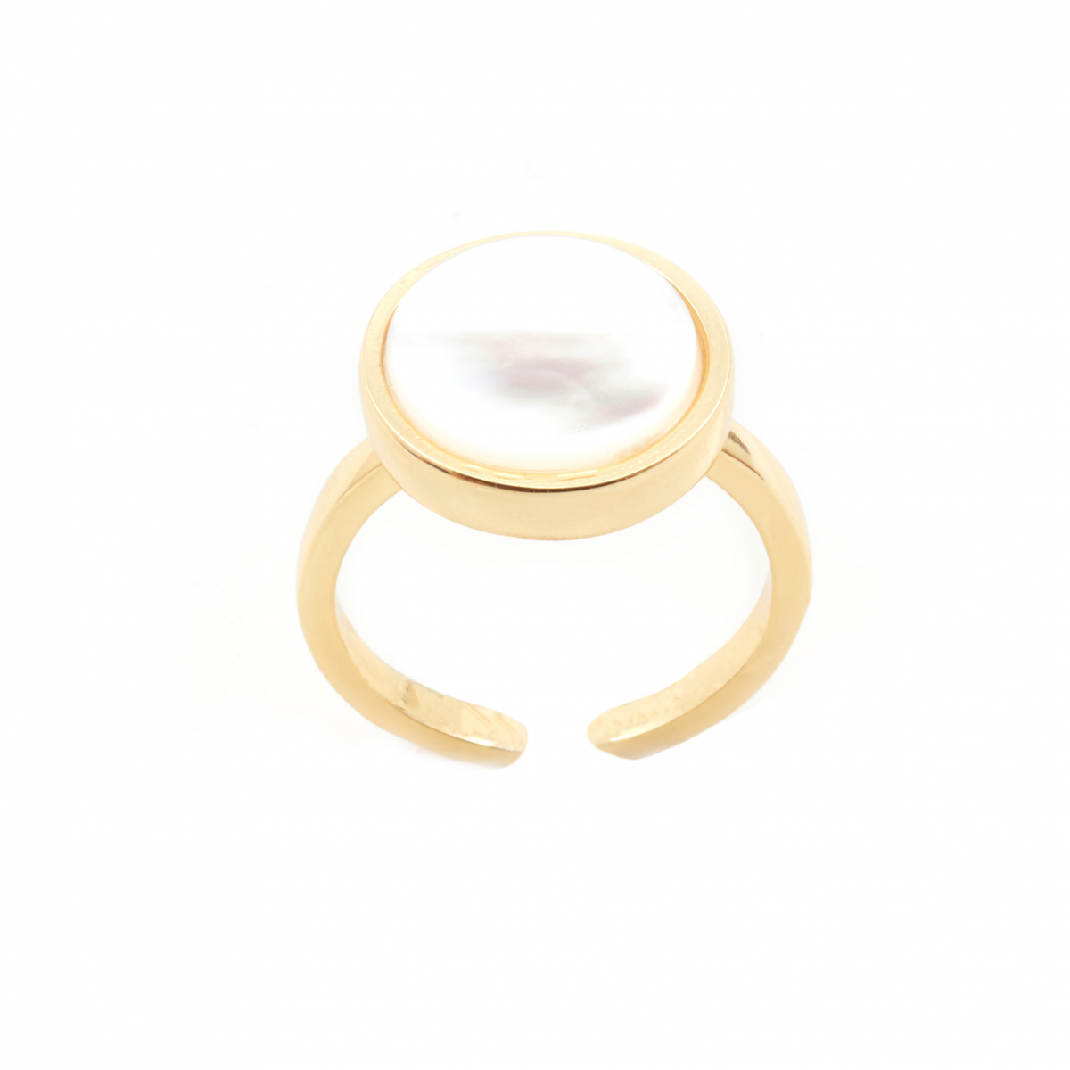 Mini Filigree Disc Open Ring - Mother of Pearl