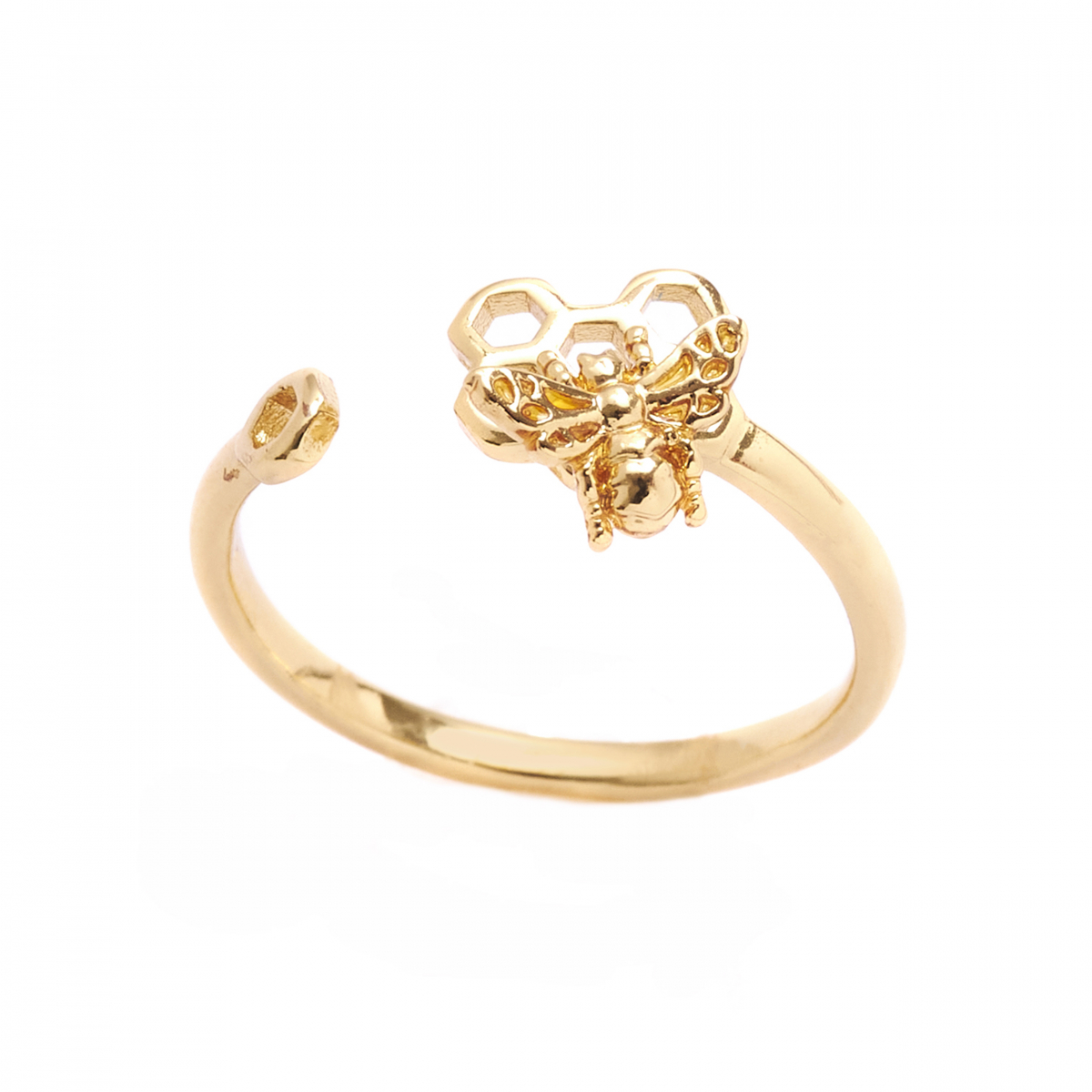 Mini Bee & Honeycomb Open Ring