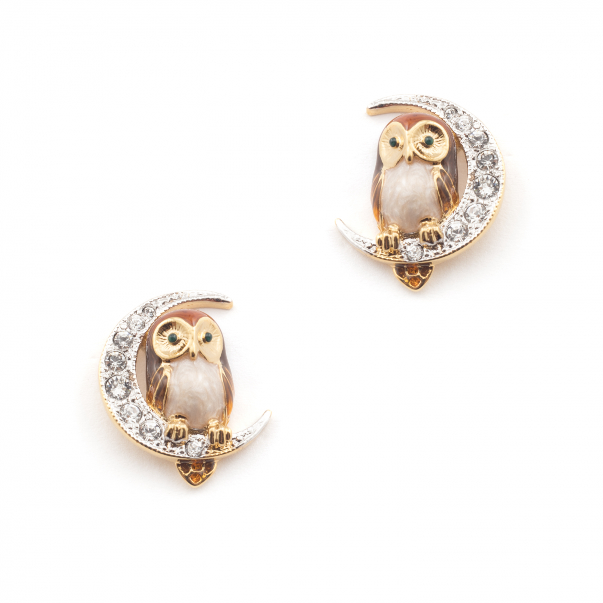 Brown Owl & Moon Stud Earrings