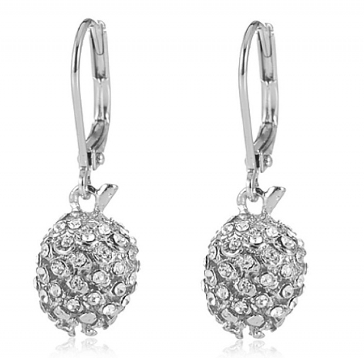 Pinecone Swing Earring Pave & Rhodium