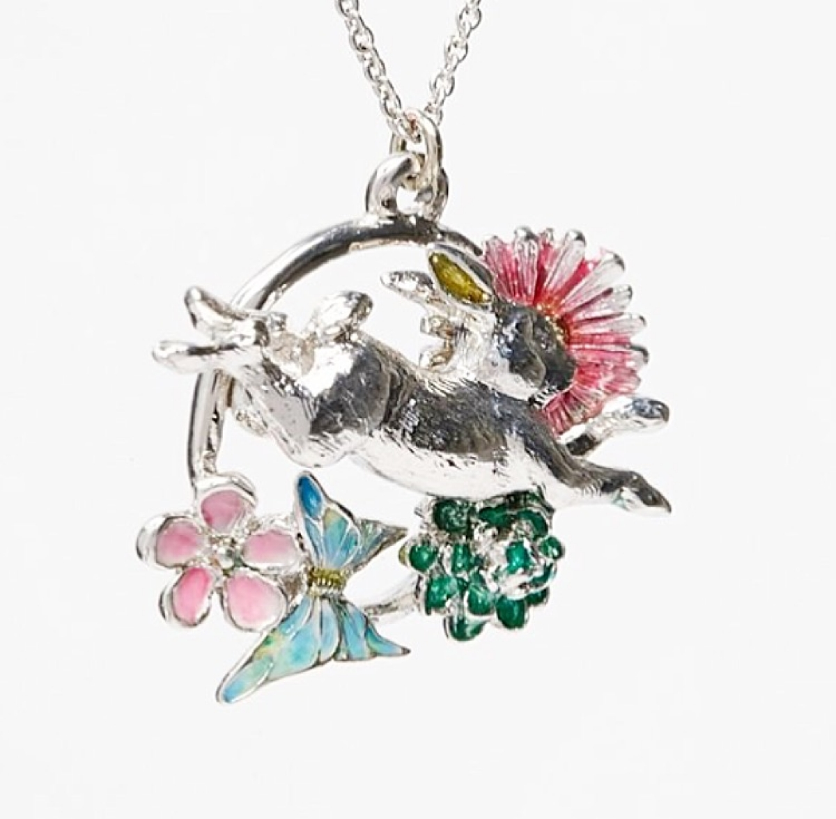 Flower Leaping Rabbit Necklace