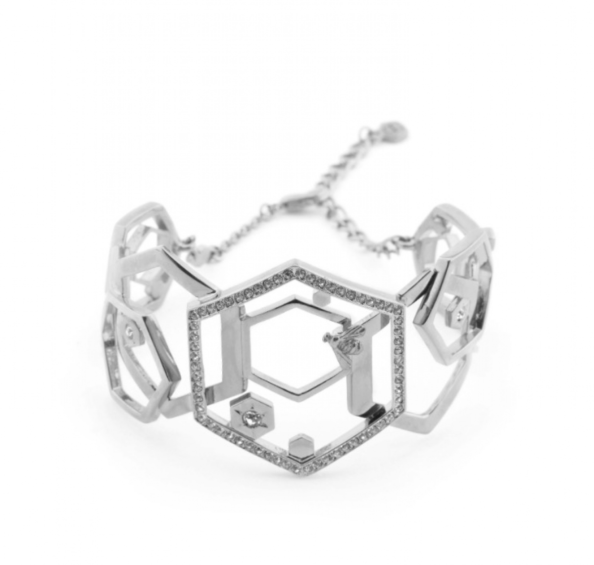 Hexagon Bangle Rhodium