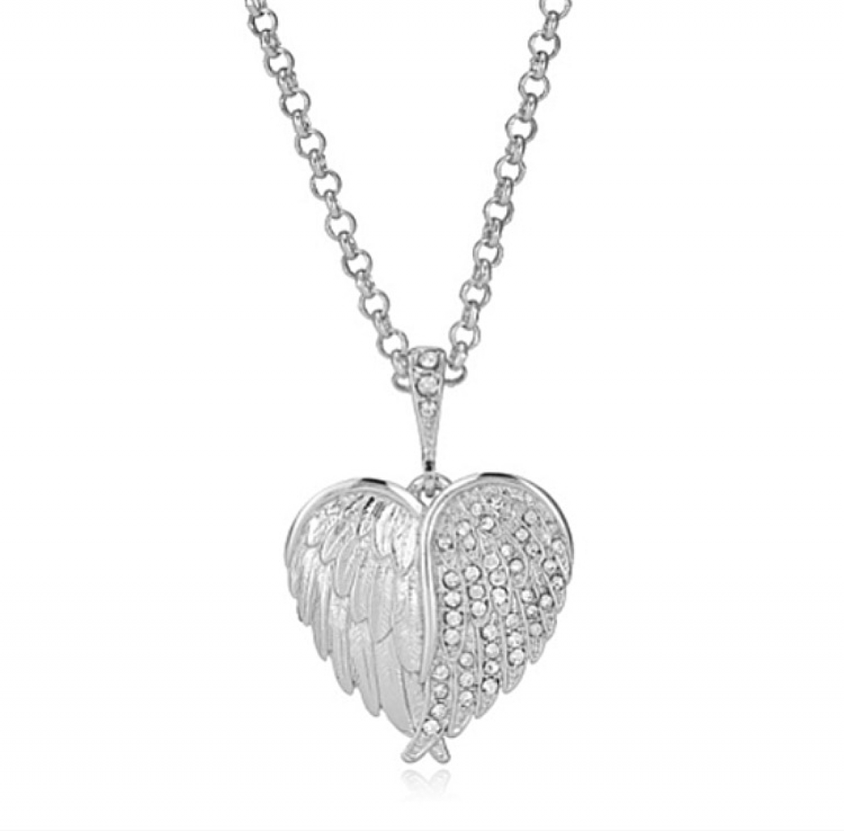 Hidden Cherub Heart Pendant Rhodium