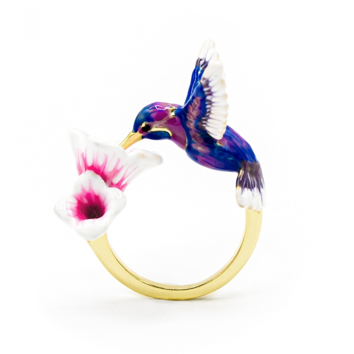 Hummingbird & Flower Open Ring - Blue