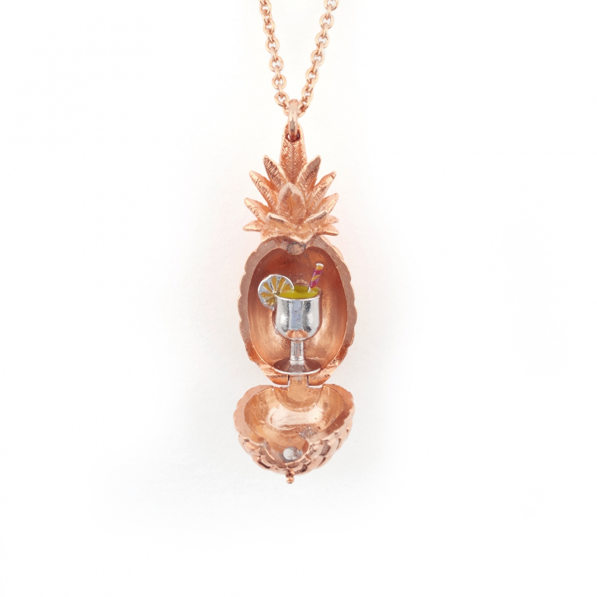 Pineapple Locket with Cocktail  - Rose Gold