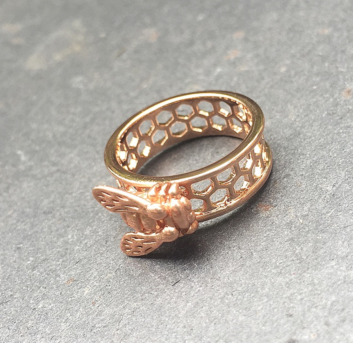 Baby Bee & Honeycomb Ring Rose Gold - Small Size Only