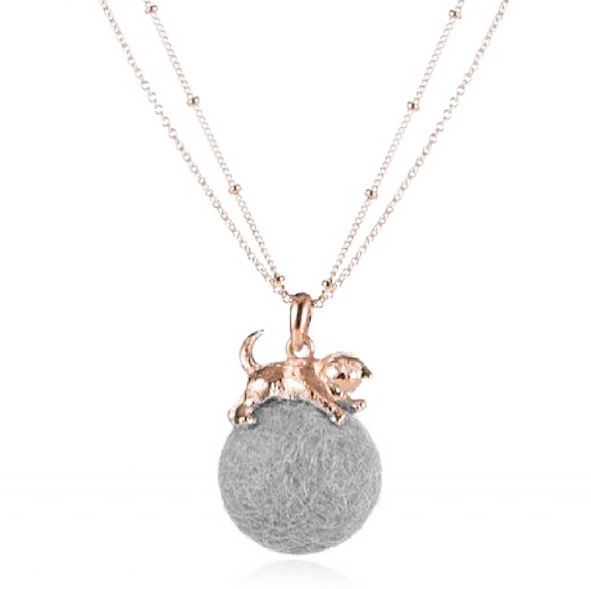 Kitten with Wool Ball Pendant (Grey)  Rose Gold