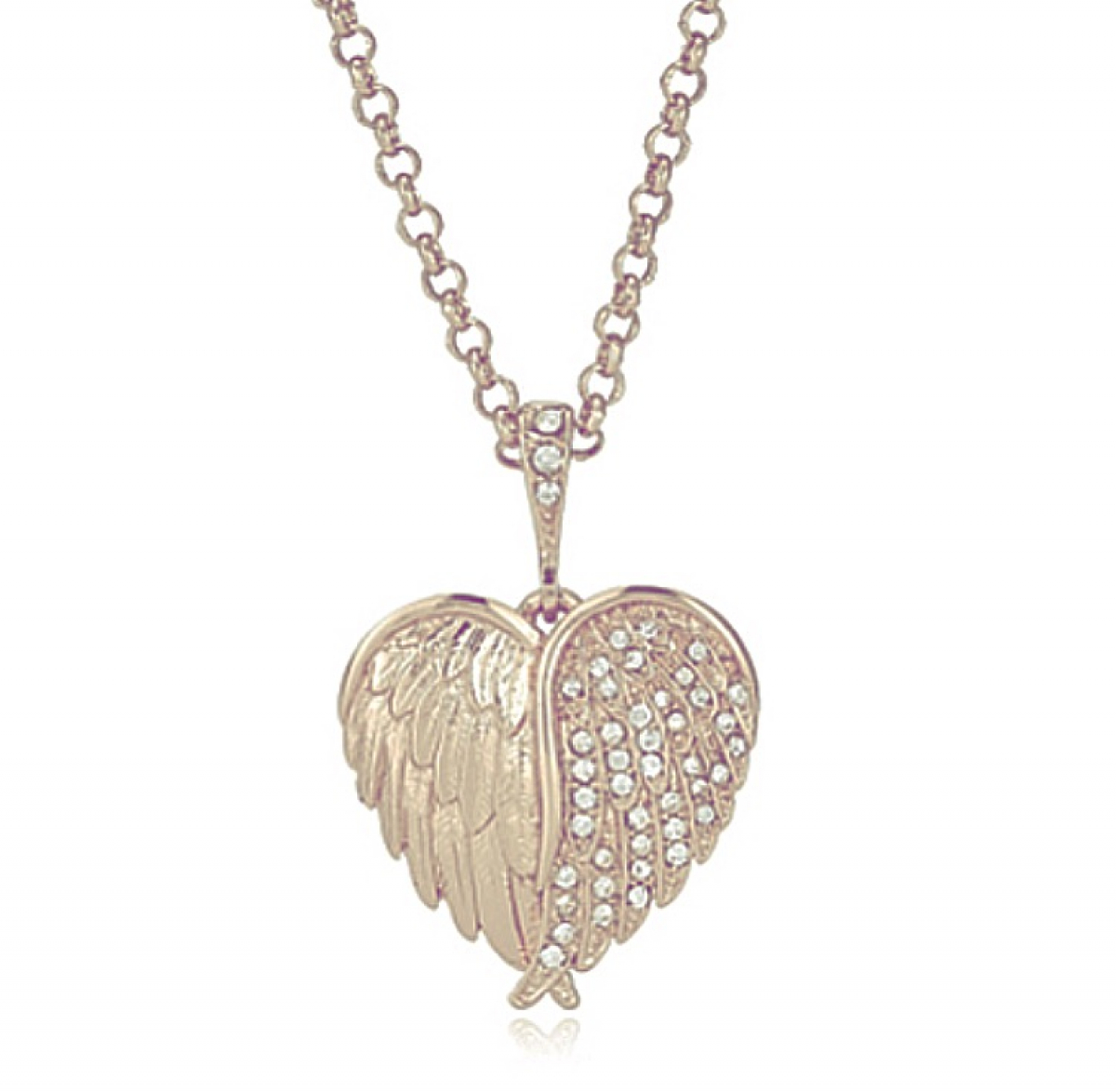 Hidden Cherub Heart Pendant Rose Gold