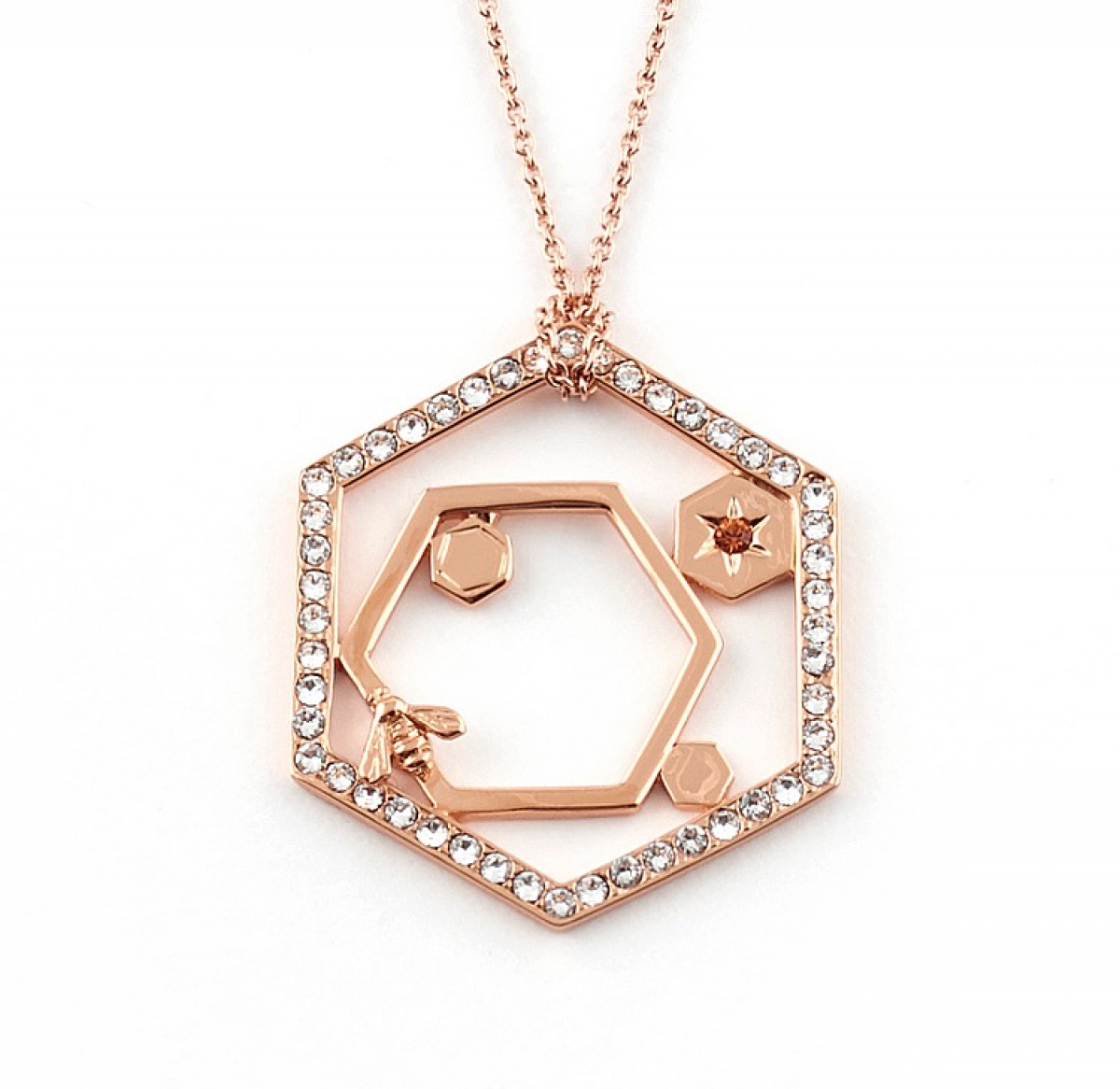 Hexagon Bee Long Pendant - Rose Gold