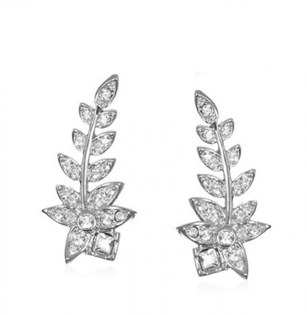 Crystal Fern Ear Climber Earrings Rhodium