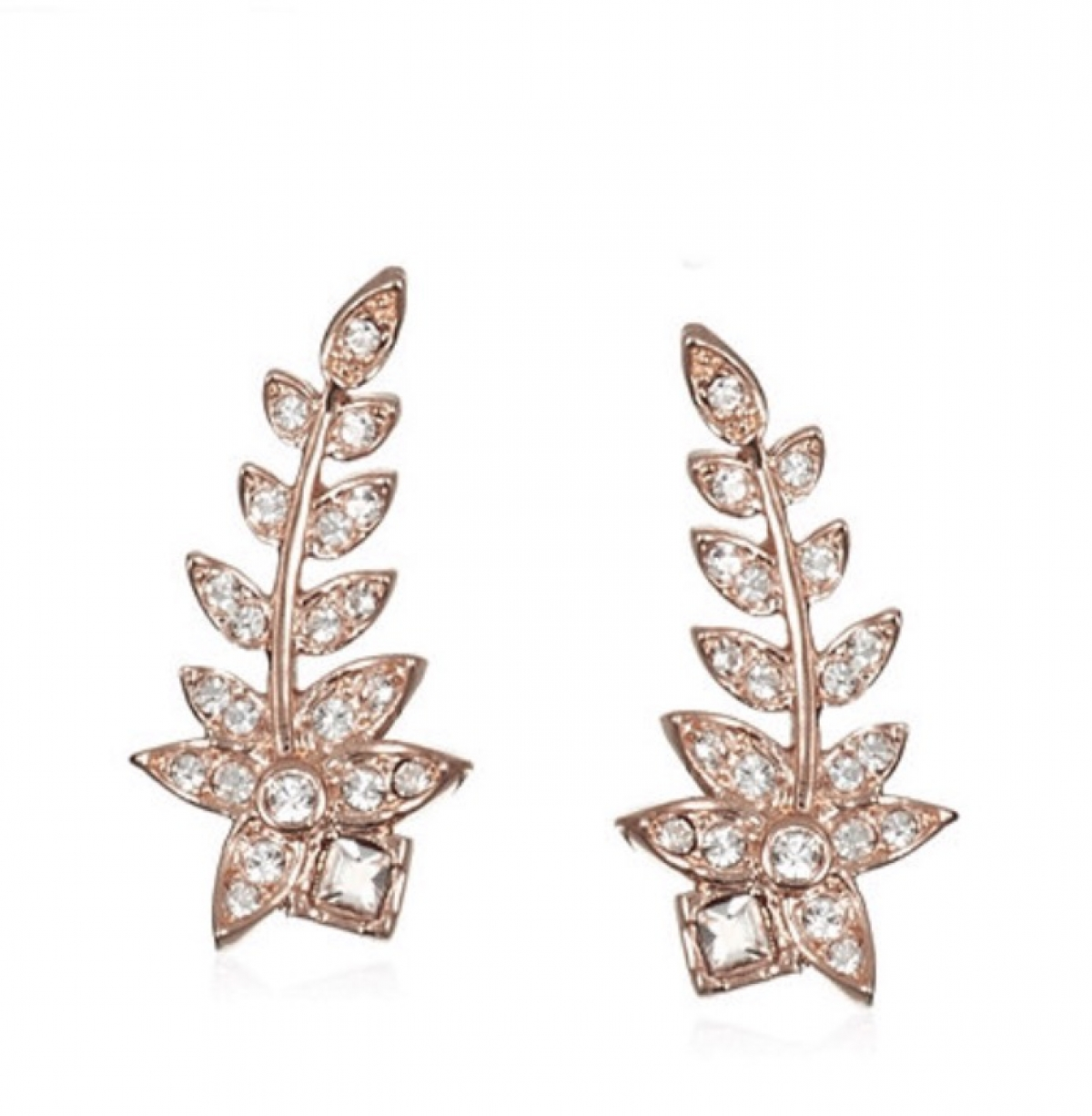 Crystal Fern Ear Climber Earrings Rose Gold