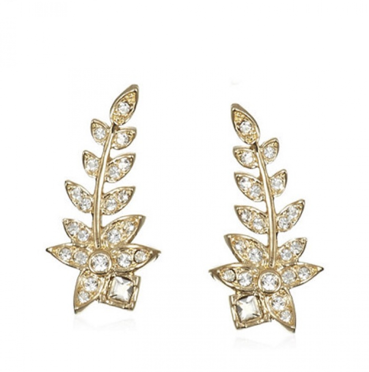 Crystal Fern Ear Climber Earrings Gold