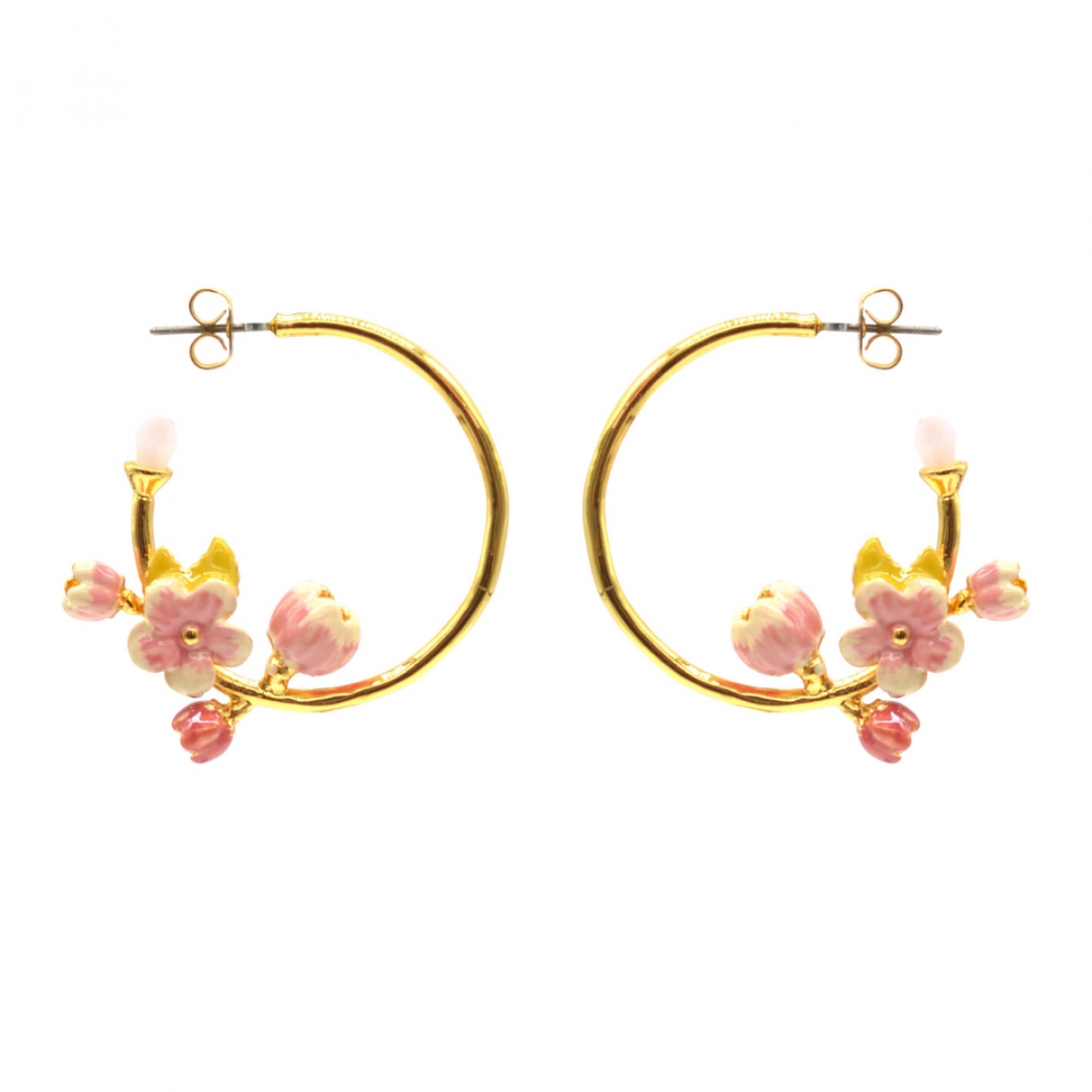 Cherry Blossom Statement Hoop Earrings