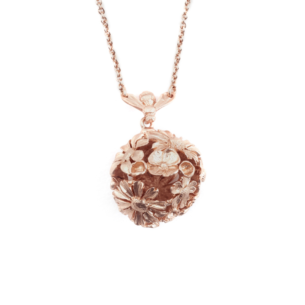 Bee & Floral Orb Pendant (Rose Gold)