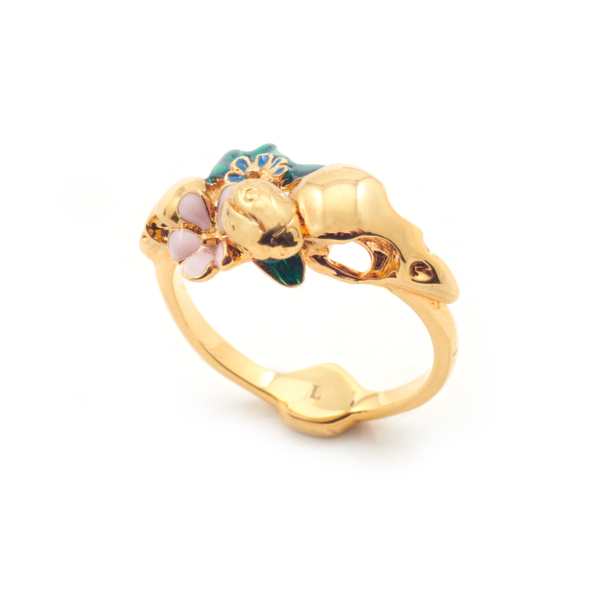 Archive Bird Skull & Floral Ring - Gold - Size Large