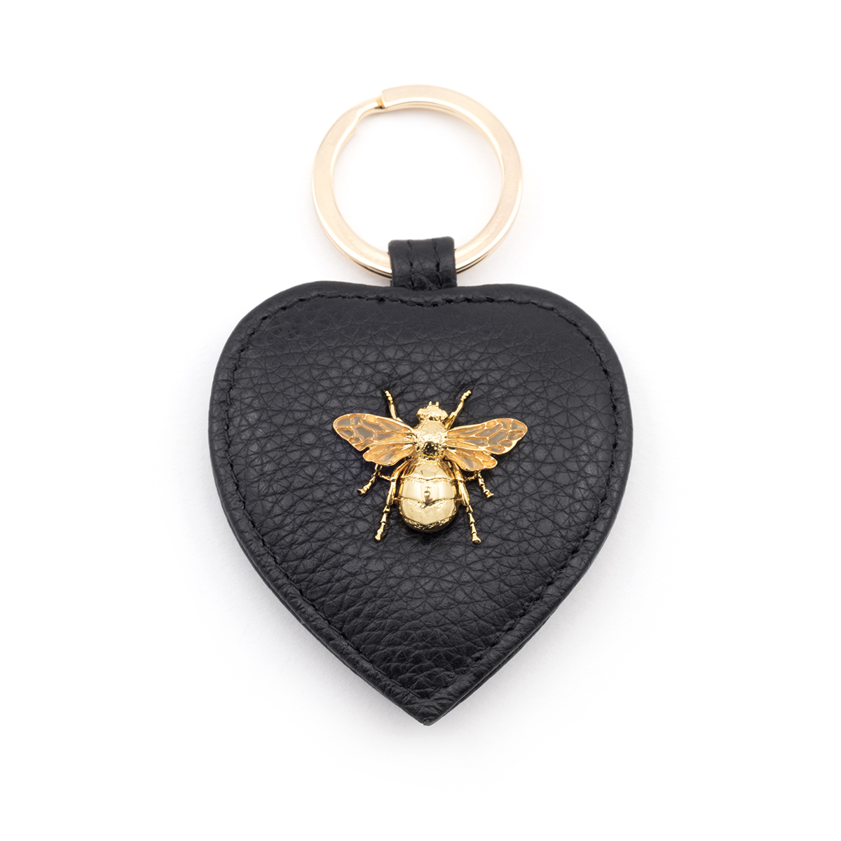 Queen Bee Leather Keyring - Black