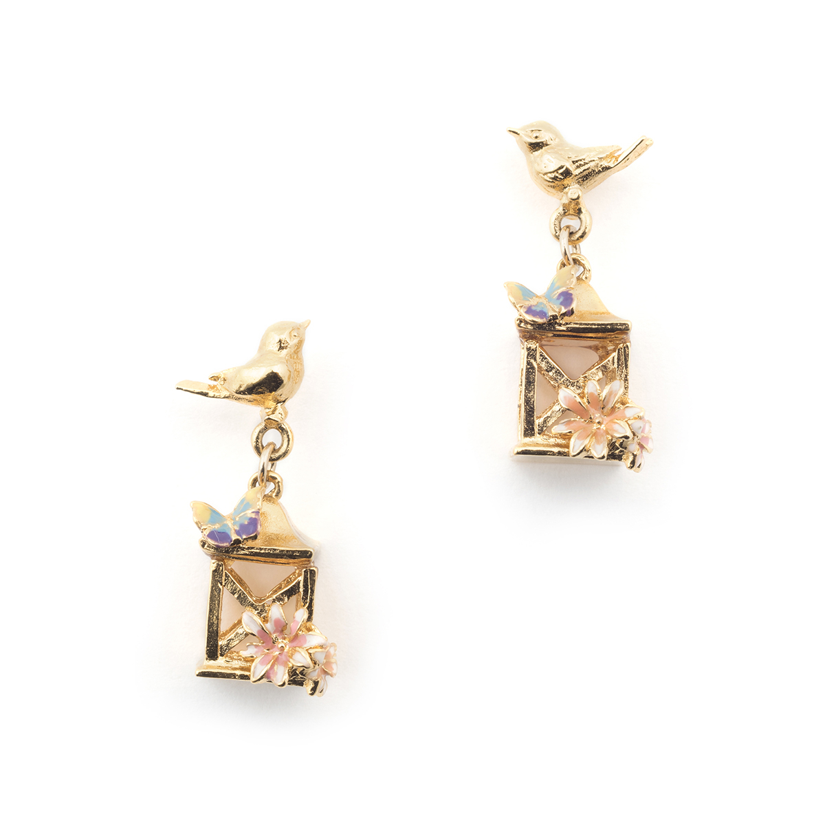 Bird House Lantern Studs - Gold