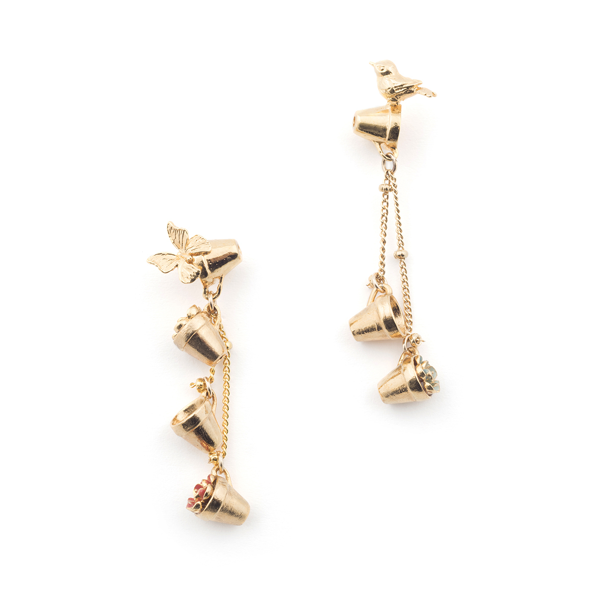Potting Shed Planter Drop Earrings - Gold