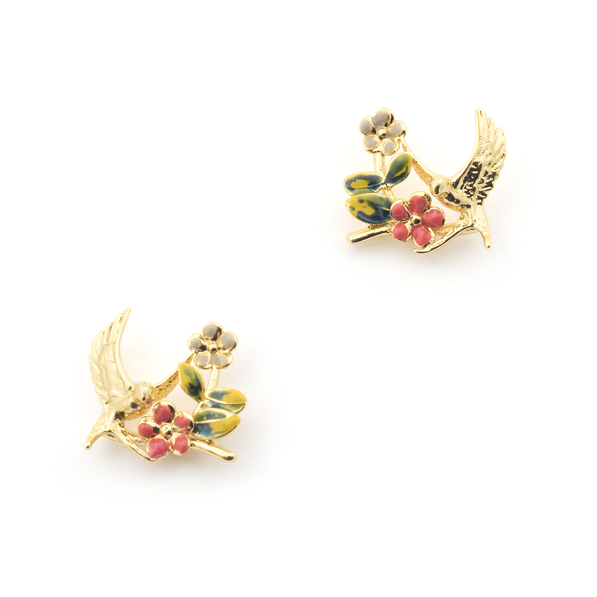 Swallow Floral Stud - Gold