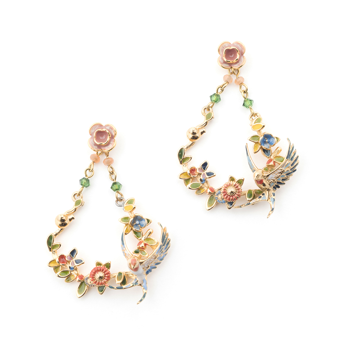 Swallow Floral Drop Earring - Gold