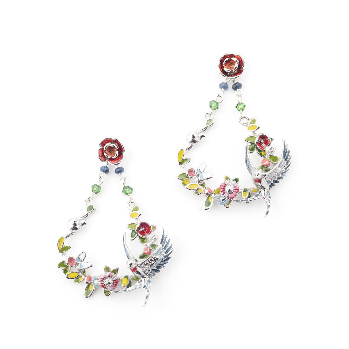 Swallow Floral Drop Earring - Rhodium