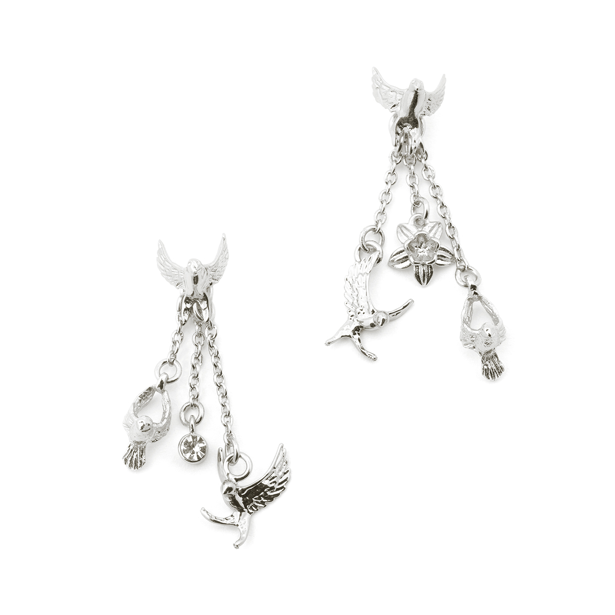 Swallow Drop Earring - Rhodium