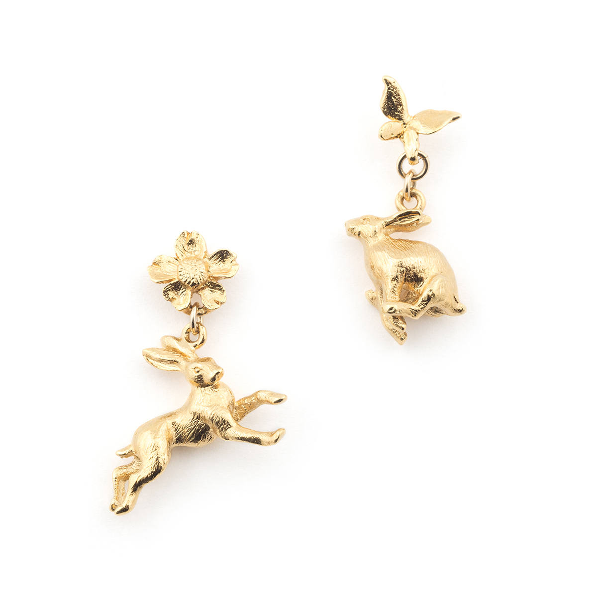 Hare Drop Earrings - Gold