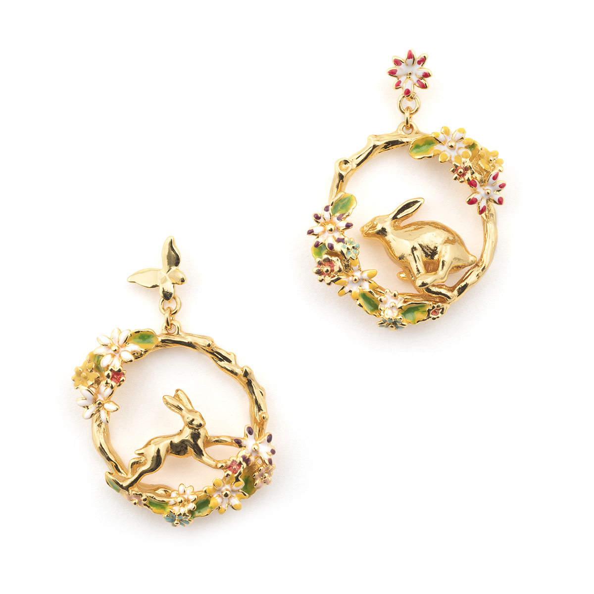 Hare Circle Hoop Earring - Gold