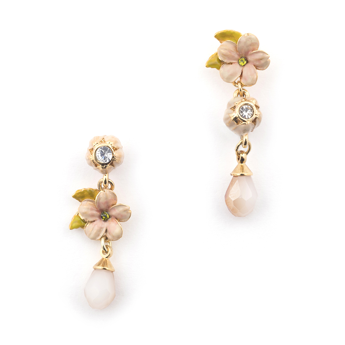 Cherry Blossom Stone Statement Drop Earring - Gold