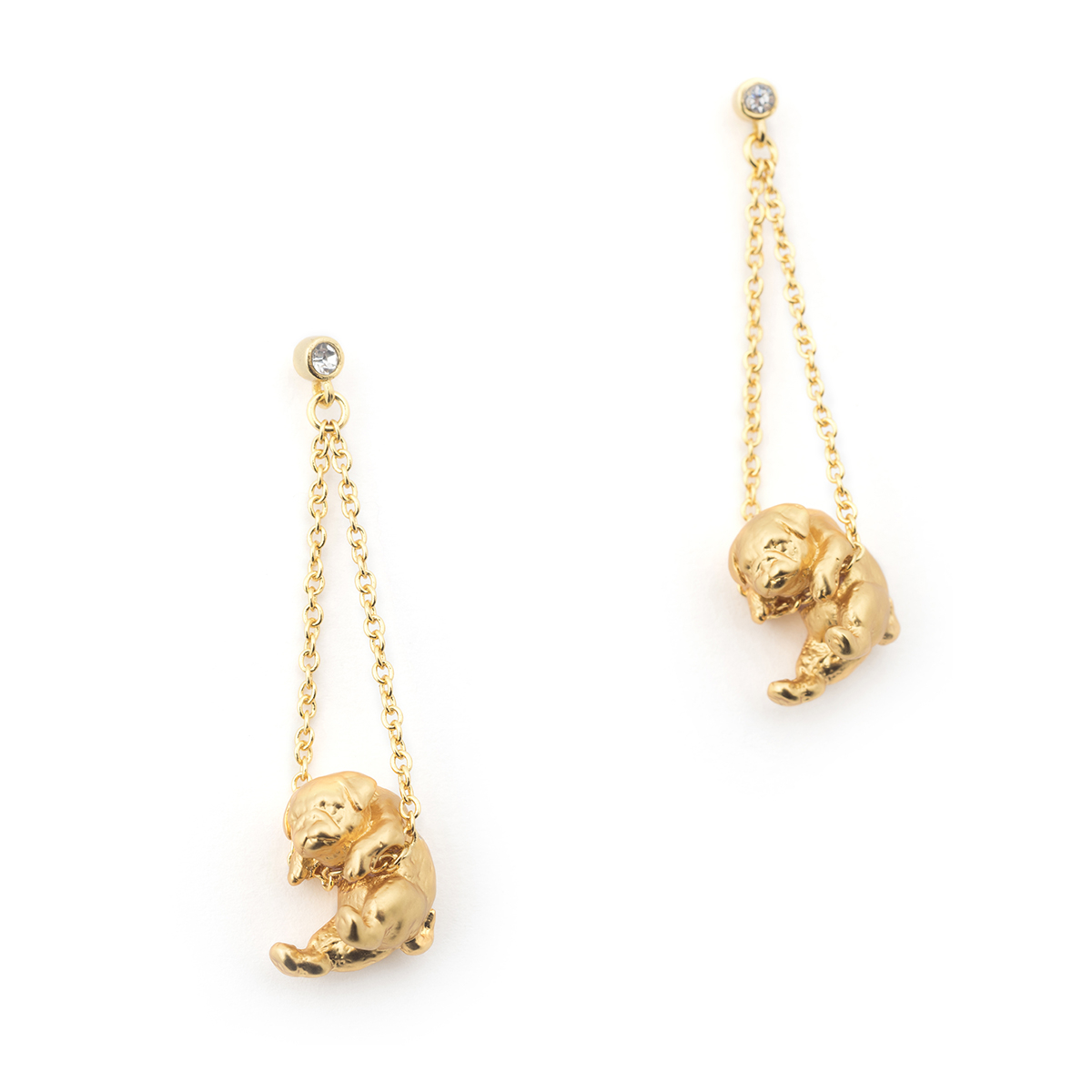 Puppy Pug Drop Earring - Gold