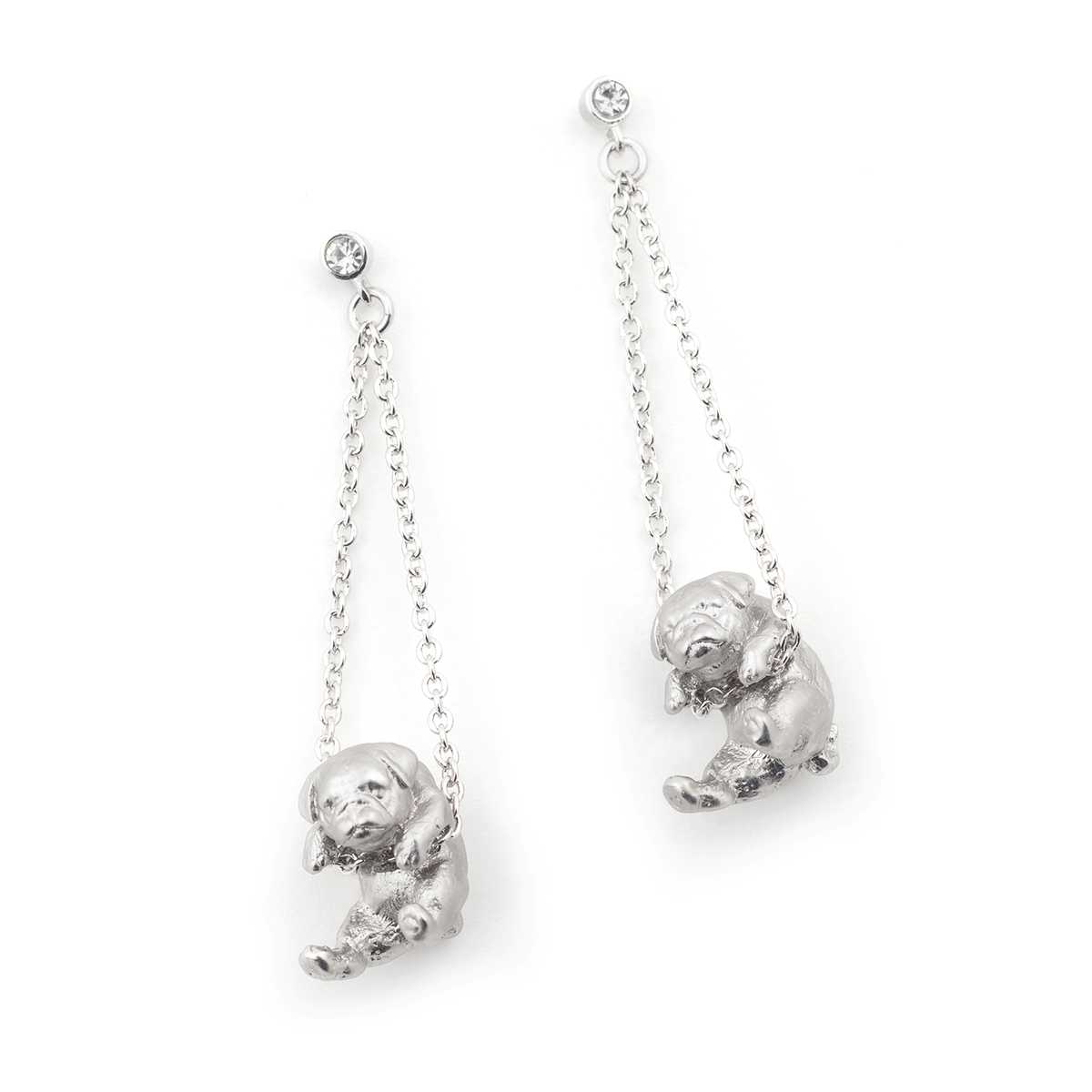 Puppy Pug Drop Earring - Rhodium