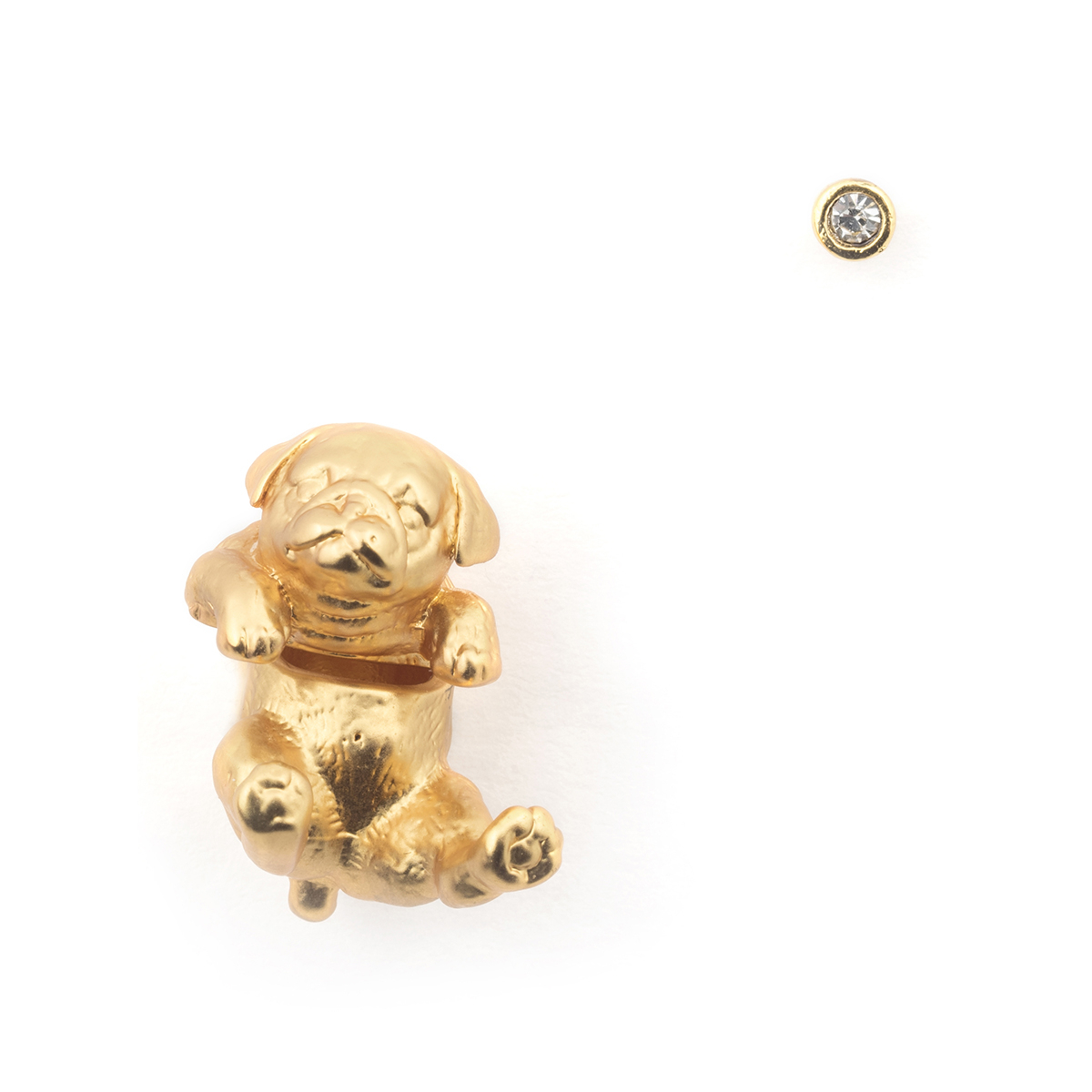 Puppy Pug Through Earring & Crystal Stud - Gold