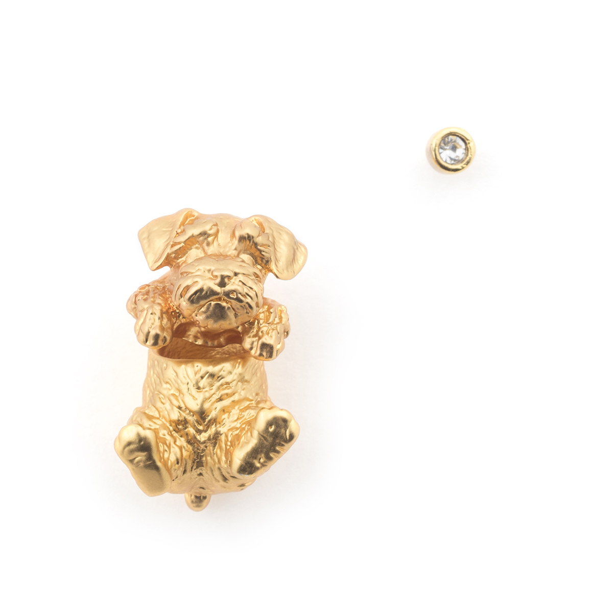 Puppy Wally Through Earring & Crystal Stud - Gold