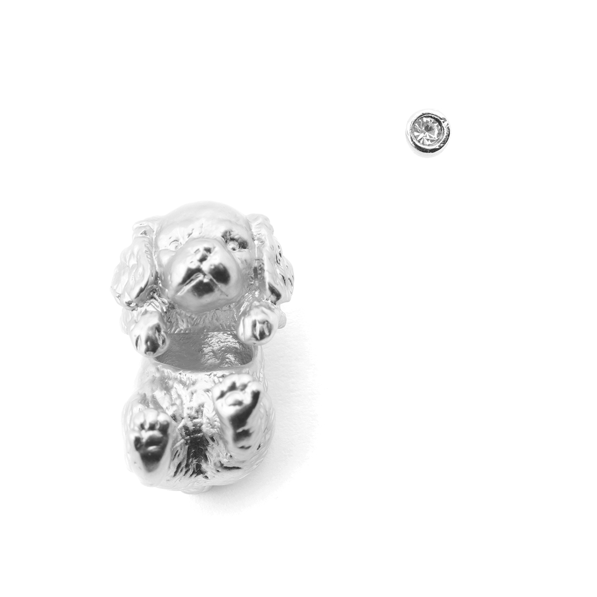 Puppy Spaniel Through Earring & Crystal Stud - Rhodium