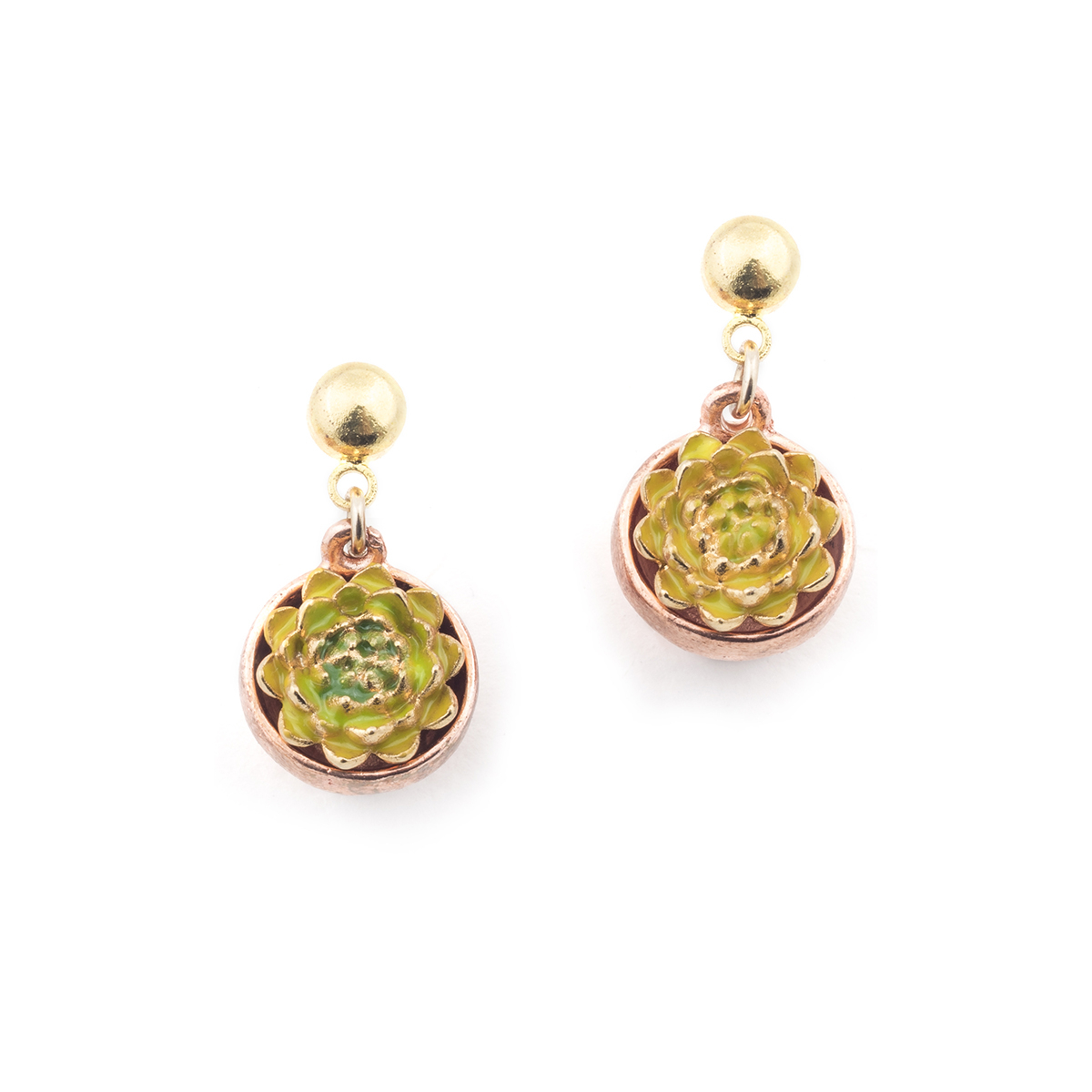 Potting Shed Succulent Earrings - Gold