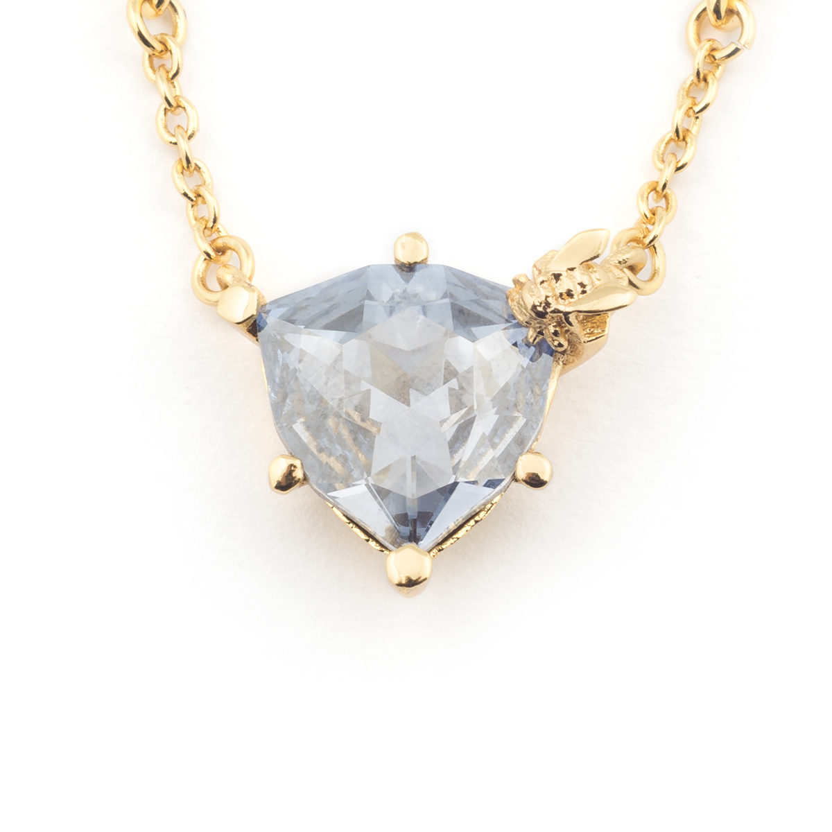 Disco Bee Gold Pendant - Blue Crystal