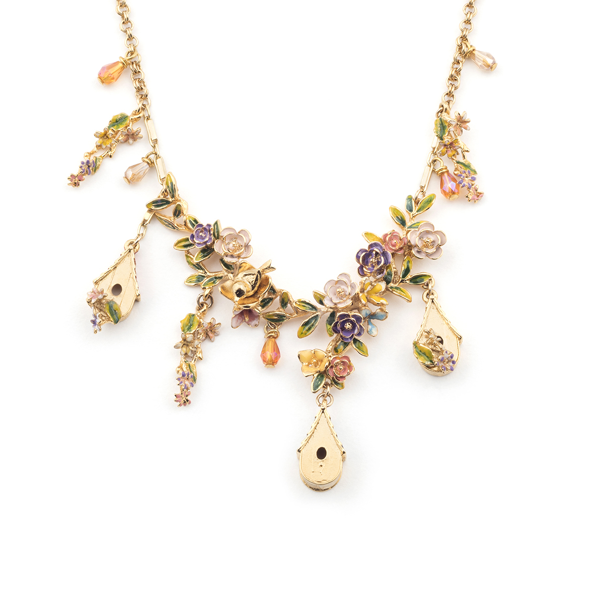 Bird House Necklace - Gold