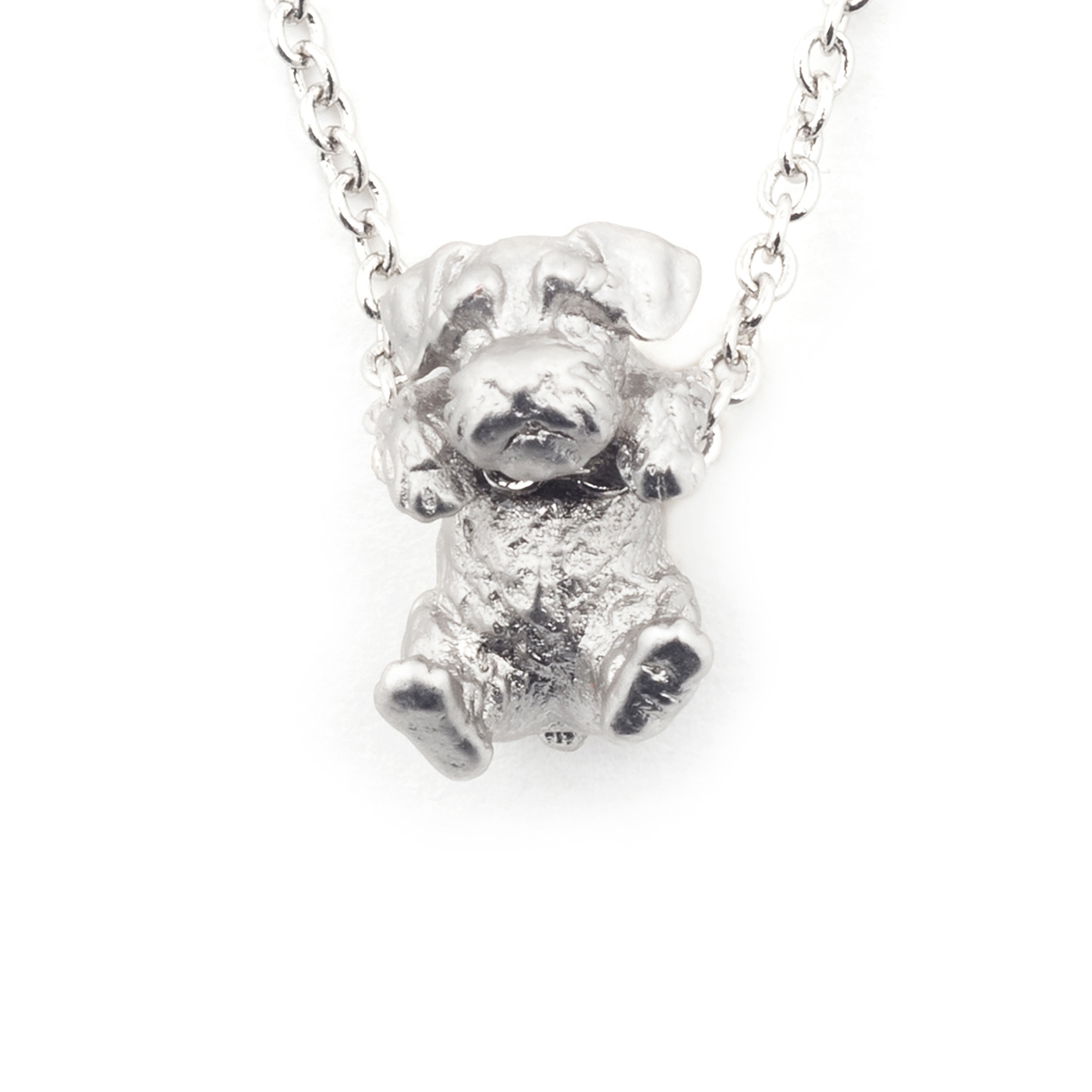 Puppy Wally Pendant - Rhodium