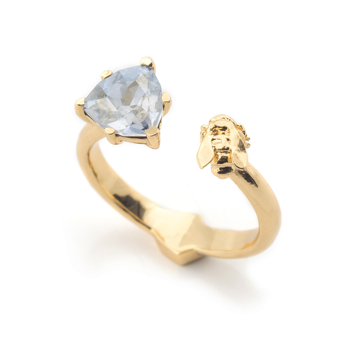 Disco Bee Gold Open Ring - Blue Crystal