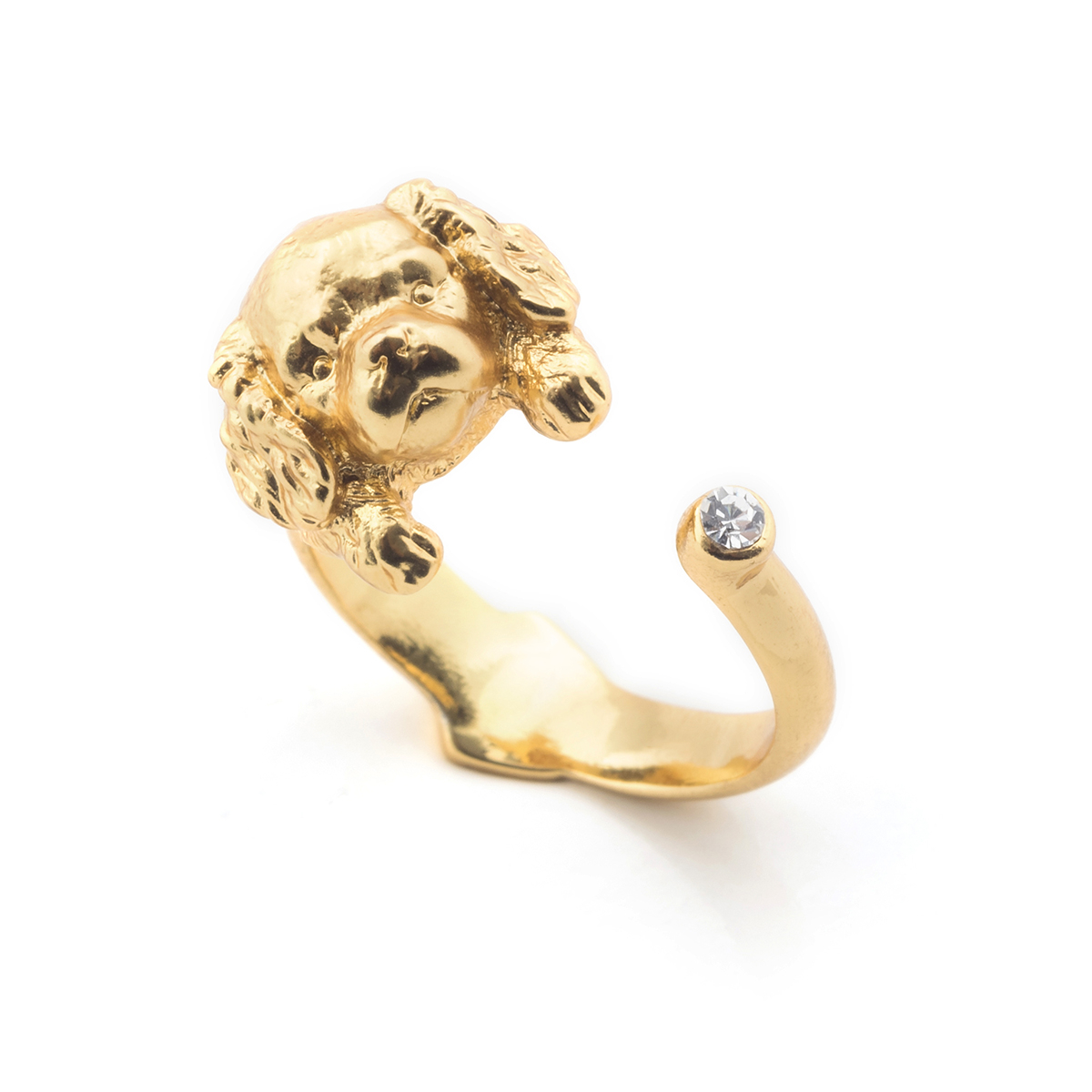 Puppy Spaniel Open Ring - Gold