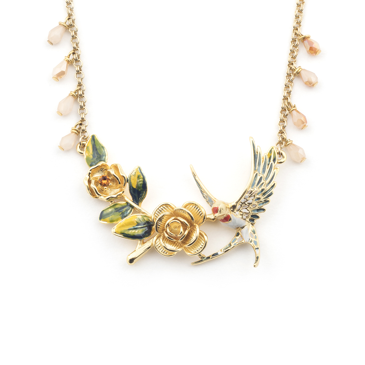 Swallow Rose Necklace - Gold