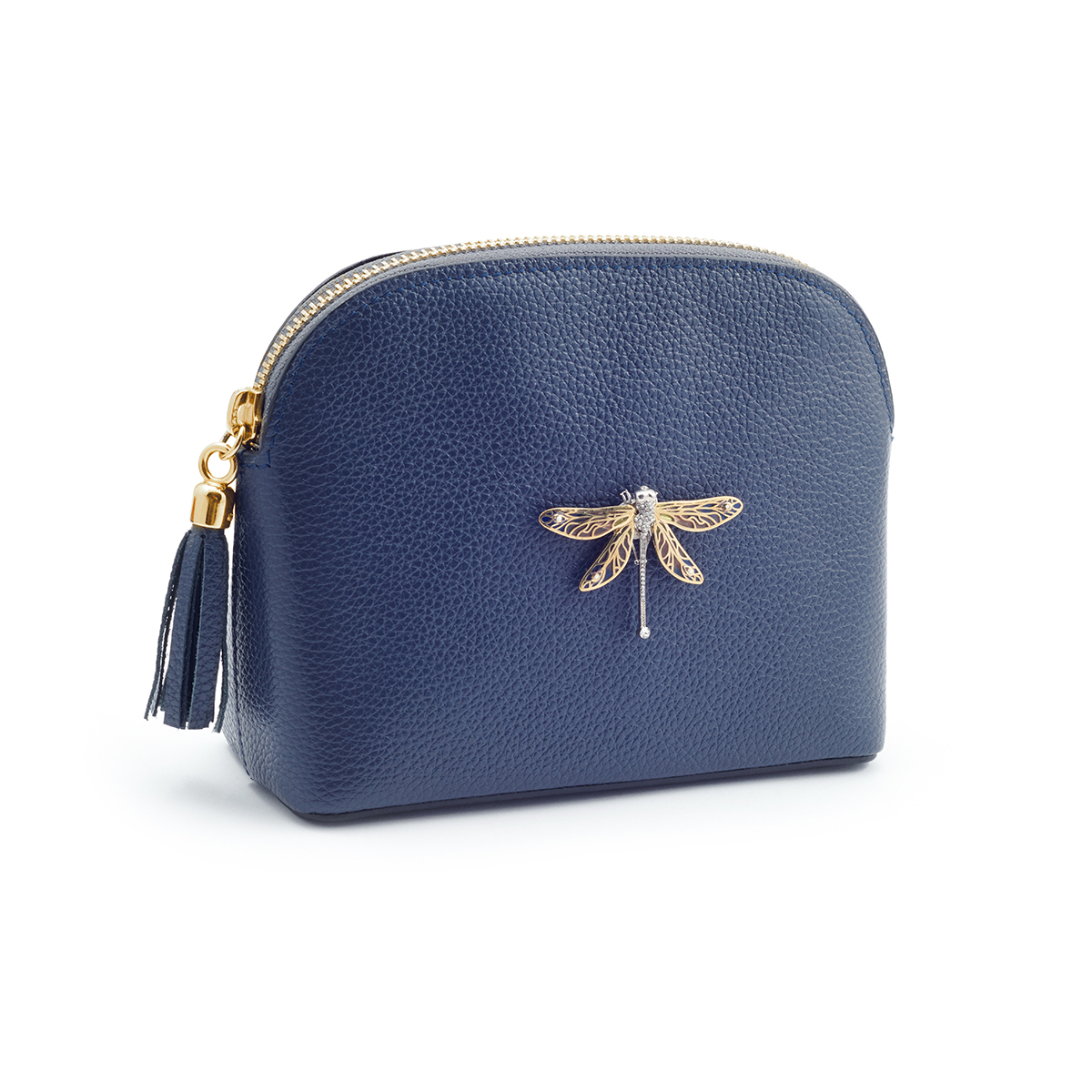 Dragonfly Leather Handbag - Navy