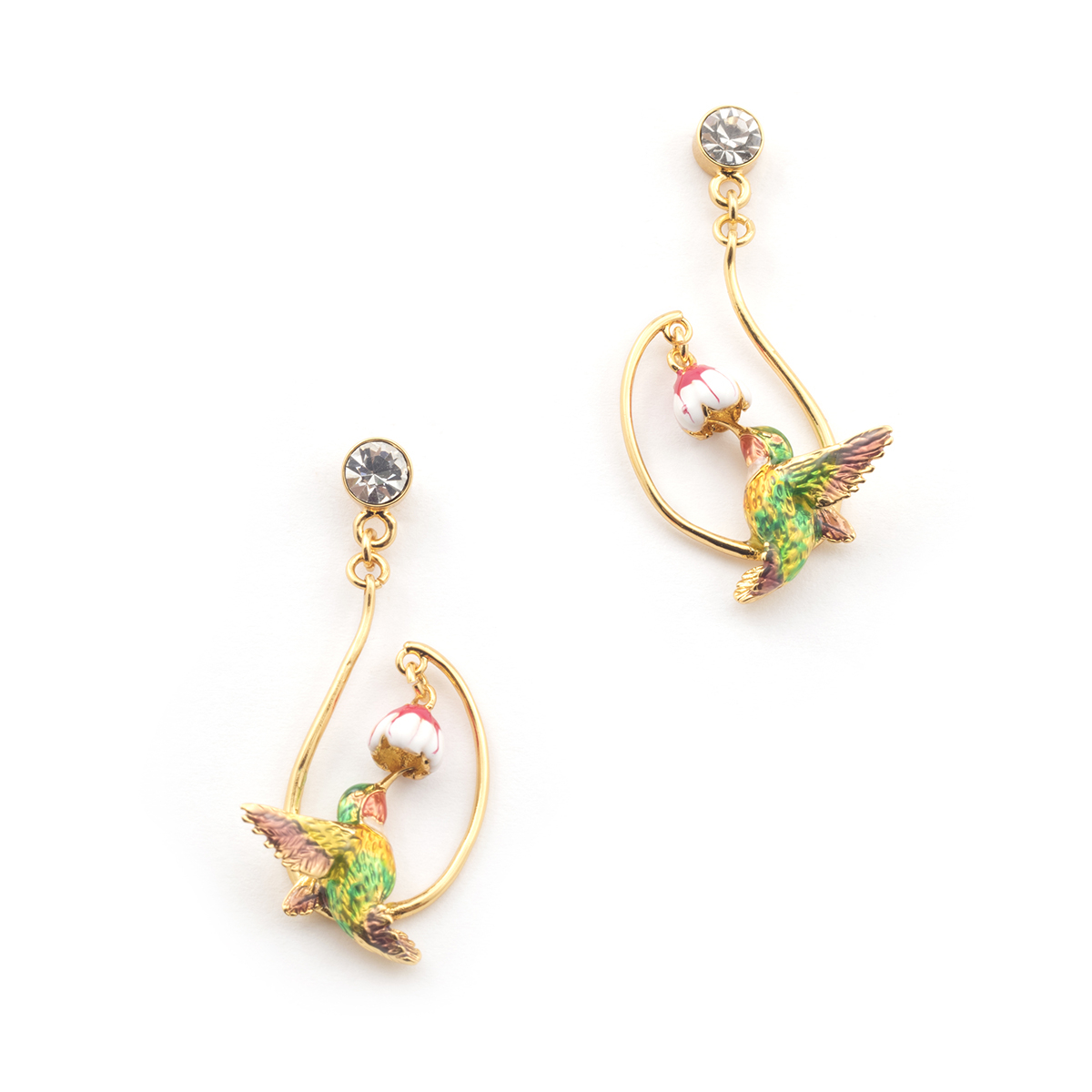 Long Swooping Hummingbird Earrings